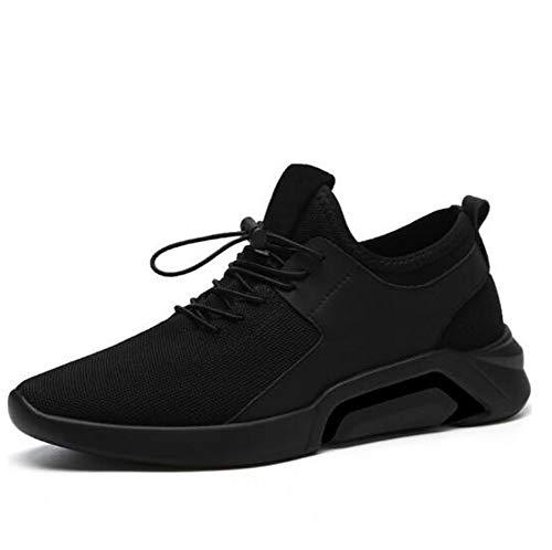 TAZAN 2019 New Casual Sneakers Hommes Respirant Confortable Mesh Hommes Chaussures Mode Bande Élastique Marche Chaussures Douces Plat Noir Blanc 39-44EU,Noir,43