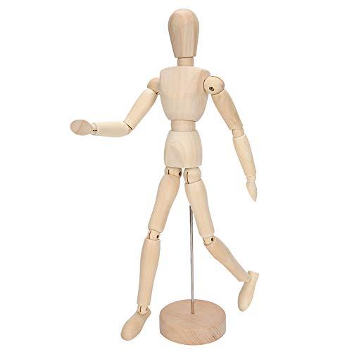 Atyhao Menschliche Figur Modell, Künstler Holzpuppe mit Basis und beweglichen Gliedmaßen Zeichnungsmodell Menschliche Figur Spielzeug für die Heimdekoration Zeichnung Die menschliche Figur