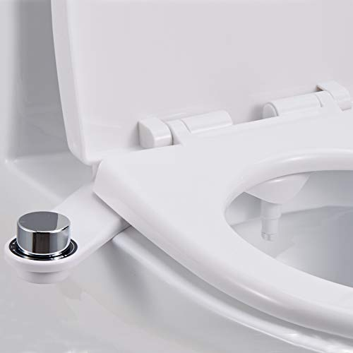 Non-Electric bidet attachment for toilet w/Self-cleaning Single Nozzle and Easy Water Pressure Adjustment for Sanitary and Feminine Wash (White)