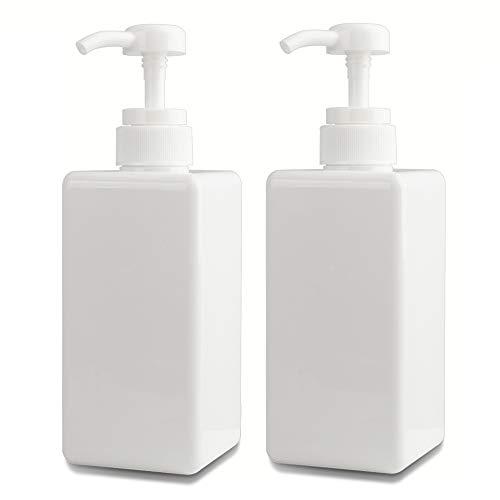 650 ml Seifenspender, 2er-Set Pumpspender aus Kunststoff Leerflasche Soap Dispenser Lotionspender optimal für Küche Bad Flüssigseifen - Weiß