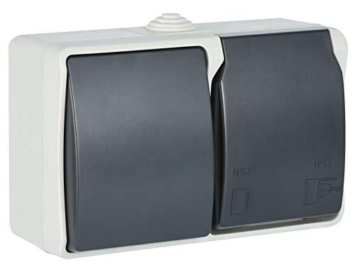 Electraline 605909 Toma de pared et interruptor horizontal, 1 toma Schuko 16A 2P + T con tapa, Apto para ambientes exteriores y húmedos, protección IP44, Aquatop, Gris/antracita