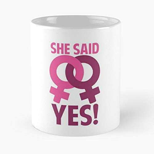 She Said Yes Engagement Gifts L-gbt Gay Marriage Rights Wedding Classic Mug - The Funny Coffee Mugs For Halloween, Holiday, Christmas Party Decoration 11 Ounce White Lilacoo.