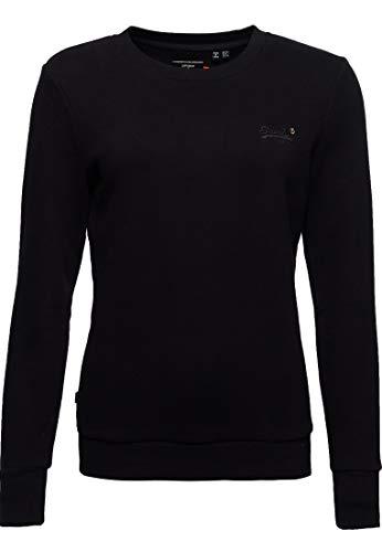 Superdry Damen Orange Label Sweatshirt mit Rundhalsausschnitt Schwarz 42