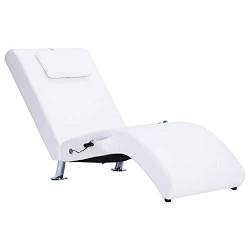vidaXL Sdraio Massaggio con Cuscino Ergonomica Imbottita Comoda Design Moderno Funzione Massaggio Lettino Chaise Longue Poltrona Bianca in Similpelle