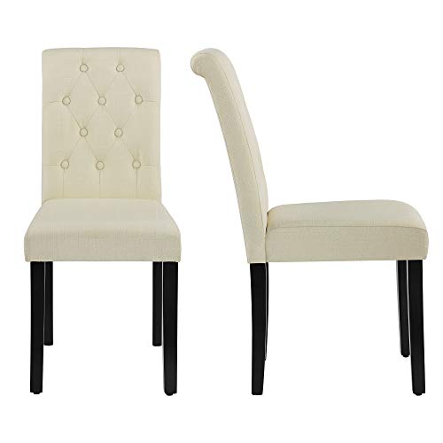 LSSBOUGHT Button-Tufted Upholstered Fabric Dining Chairs with Solid Wood Legs, Set of 2 (Beige)
