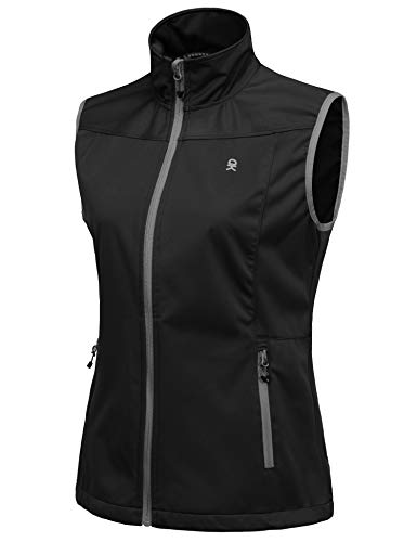 Little Donkey Andy Women's Lightweight Softshell Vest, Windproof Sleeveless Jacket for Running Hiking Travel, Black XL