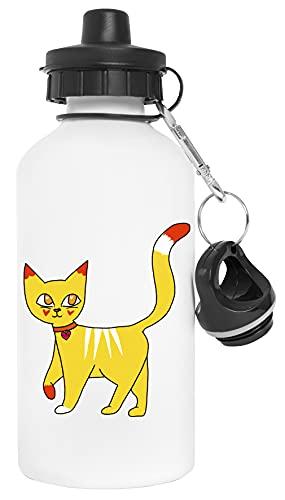 Gato Para caminar Amarillo gatito Botella de Agua Blanco Aluminio Reutilizable Water Bottle White Aluminium Reusable