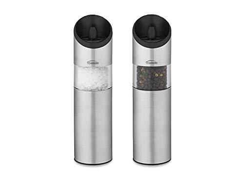 Trudeau Graviti Battery Operated Salt & Pepper Mill Set (Silver)