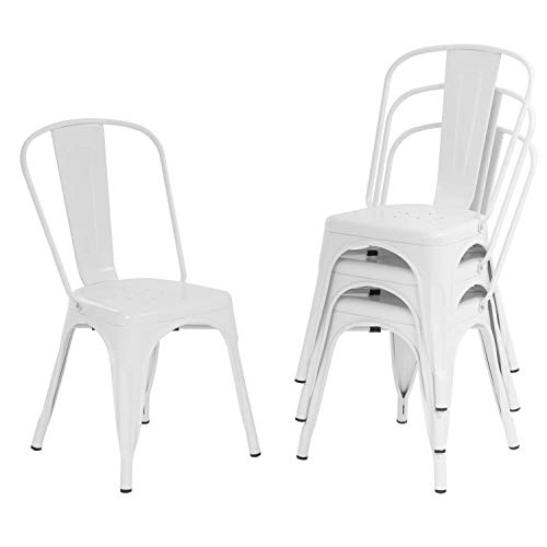 Metal Dining Chairs Set of 4 Indoor Outdoor Chairs Patio Chairs Kitchen Chairs 18 Inch Seat Height Metal Restaurant Chair Stackable Chair Tolix Side Bar Chairs