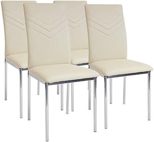 Albatros 2939 Verona Set de 4 sillas de Comedor, Beige, pie de Cromo, SGS Tested