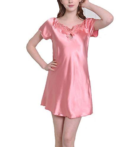 Crystallly Dames satijn Negligee drager jurk Sleepwear nachtkleding lingerie satijn korte eenvoudige stijl mouwen nachthemd nachtkleding dames home mode comfortabel pyjama