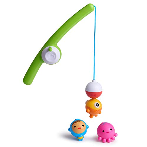Munchkin Gone Fishin' Rod & Reel Magnetic Bath Toy Set (with 3 Distinct Underwater Bobbing Characters)