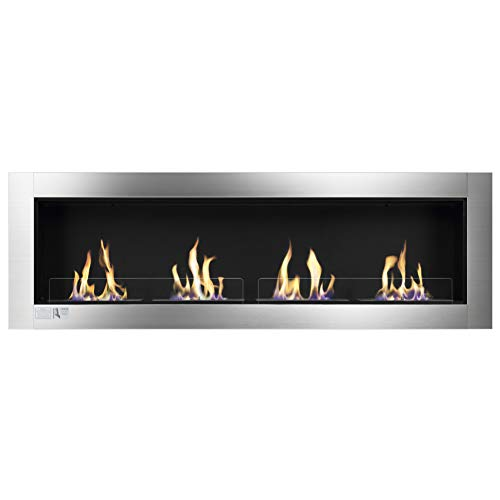 Find Bargain Xbeauty 66 Ventless Built Bio Ethanol Fireplace with Safety Glass,Indoor Wall Mounted ...