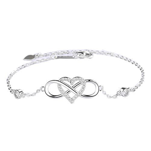 NHGF Compra joyas para ti, infinito infinito infinito amor corazón collar, plata 925 joyería Figura 8 pulsera de las mujeres de la joyería de moda pulsera