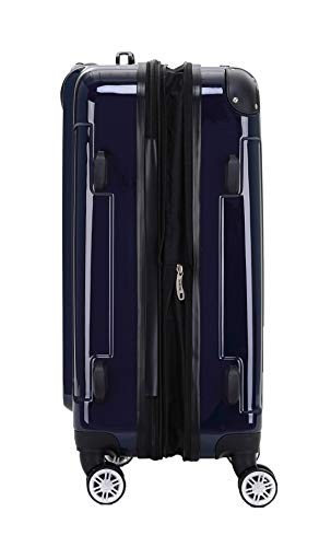BEIBYE BEIBYE Hartschalen Koffer Trolley Rollkoffer Reisekoffer 4 Zwillingsrollen Polycabonat (Dunkelblau, 66cm - 70L)
