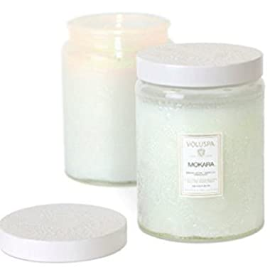Voluspa Candle Mokara Large Embossed Glass Jar Tin Lid 16oz