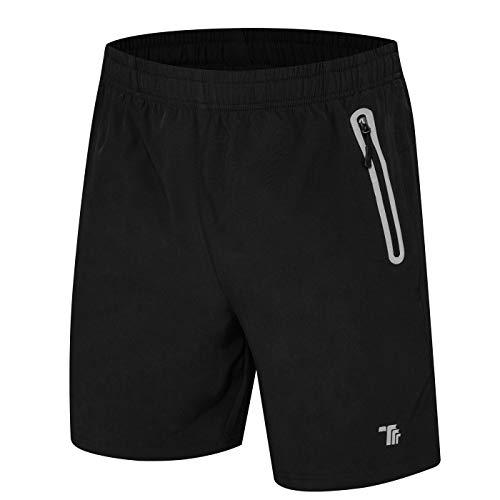 donhobo Kurze Hosen Herren Shorts Sport Trainingsshorts Fitness Short Sporthose mit Taschen Reißverschluss(01Schwarz,XL)