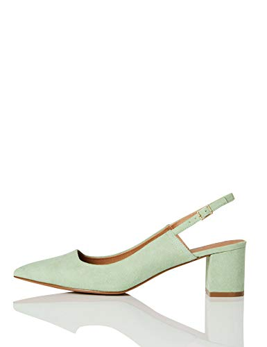 FIND Block Heel Slingback Pumps, Grün (Mint Green), 39 EU