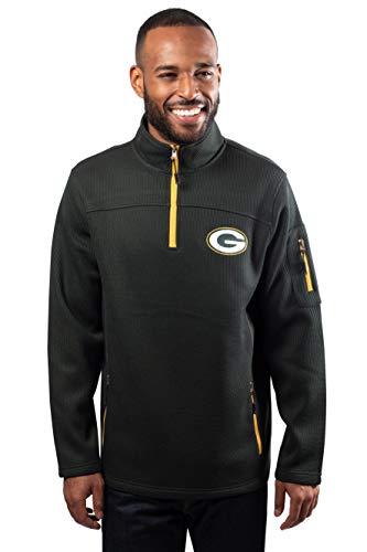 NFL Ultra Game Green Bay Packers Quarter-Zip Fleece Pullover Sweatshirt with Zipper Pockets, Large, Green