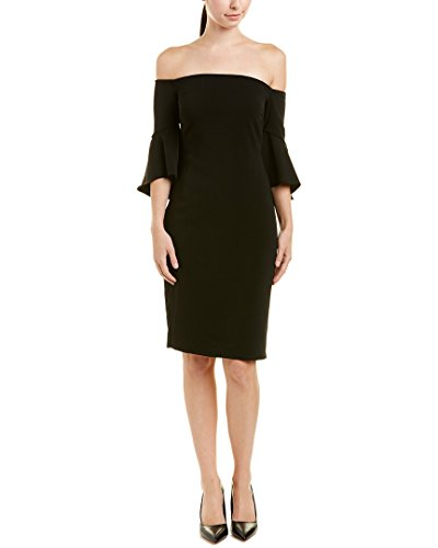 Laundry by Shelli Segal Women's Crepe Off The Shoulder Cocktail, Black, 14