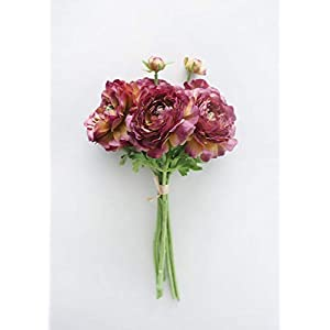 Artificial Ranunculus Flower Bouquet in Purple – 14.5″