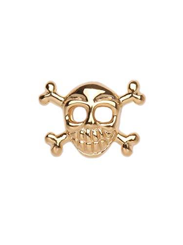 MyGold Totenkopf Ohrstecker Ohrring Gelbgold 585 Gold (14 Karat) 6mm x 10mm Einzel Single Stecker Skull Pirat Herrenschmuck Goldstecker Herrenohrring Huron V0005739