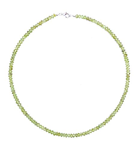 Peridot Schmuck (Halskette) Peridot Kette Peridot facettiert Linsen Größe ca. 4 mm Verschluss 925er Sterling-Silber Modellnummer 506
