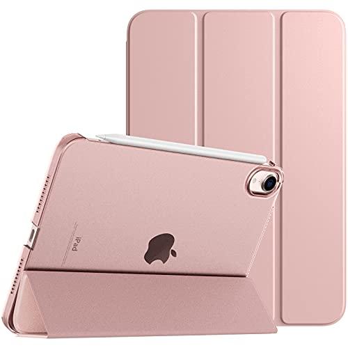 TiMOVO Hülle Kompatibel mit Neu iPad Mini 6. Generation, iPad Mini 6 Hülle(8.3 Zoll, 2021), Transluzenter PC Rückendeckel Hülle Faltbar Magnetisch Auto Schlaf/Wach Unterstützt Touch ID, Roségold