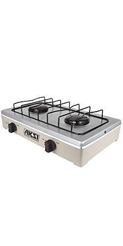 ESTUFA DE MESA - AKSI - Con 2 quemadores superiores y capacidad de 4100 kj/h. Ajustada para gas LP a 2.74 k PA (ALMENDRA/ACERO INOX)