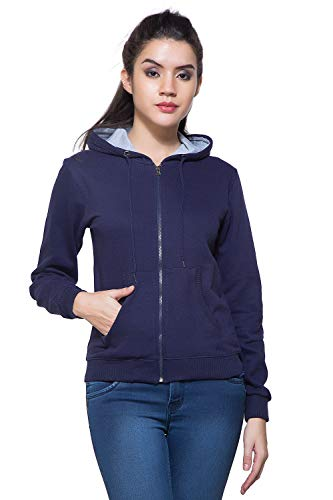 Maniac Womens Fullsleeve Hooded Navy Cotton Sweatshirt - Medium