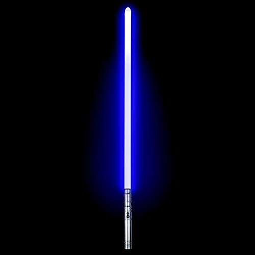 Duel Light Saber - RGB Multiple Colors Metal Hilt Force FX Lightsaber with 6 Sound Fonts, LED Rechargeable Light Sabers for Adults (Silver)