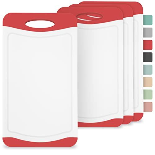 Frühstücksbrettchen Kunststoff 4er Set, 25 x 14 cm I Schneidebrett BPA frei, Rutschfest mit Saftrille und Griff - Spülmaschinenfest – Brettchen, Brotzeitbrett (Rot/Weiß)
