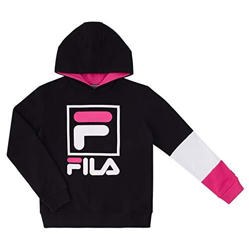 Fila Heritage - Felpa in pile spazzolato con cappuccio, unisex, per ragazzi e ragazze, con cappuccio - rosa - Large