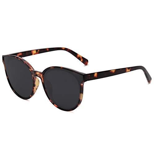 SOJOS Fashion Round Sunglasses for Women Men Vintage Shades SJ2057SC4-S Tortoise/Grey