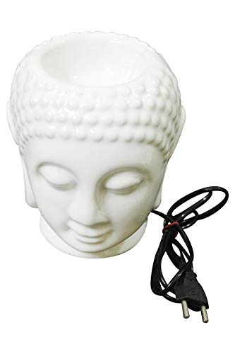 YARILO Peaceful Electronic Buddha Head Candle Ceramic Air Fresher Aromatherapy Furnace Essential Oil Burner-Candle Aroma Lamp(White)
