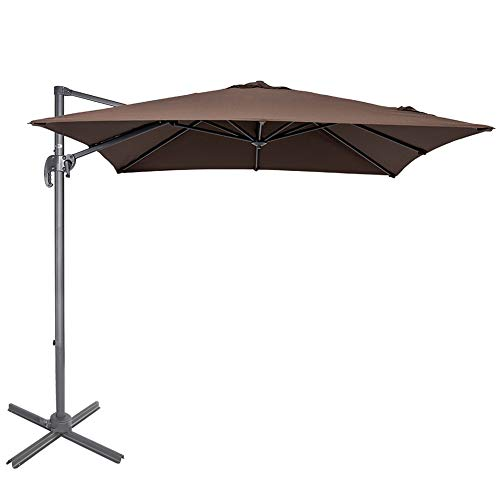 Sundale Outdoor 8.2ft Square Offset Hanging Umbrella Market Patio Umbrella Aluminum Cantilever Pole with Crank Lift, Corss Frame, Polyester Canopy, 360°Rotation, for Garden, Deck, Backyard (Coffee)