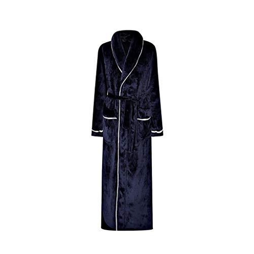 Albornoz para mujer, súper suave, de franela de lujo, con bolsillos, para dormitorio, color azul, talla grande