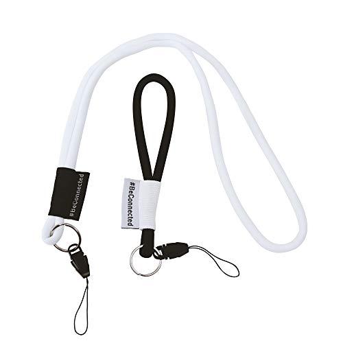 NRM-Products Schlüsselband Set als Schlüsselanhänger (weiß schwarz - 15cm & 45cm) - Band mit Ring für Schlüssel, Ausweis, Handy, Kamera - Lanyard für Damen, Herren & Kinder (Schwarz/weiß)