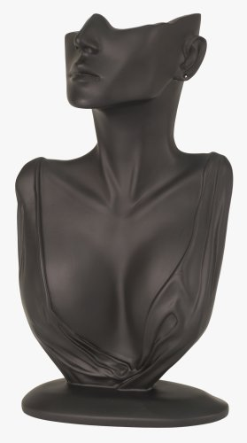 KC Store Fixtures 49154 Jewelry Display, Bust with Partial Face for Necklace and Earrings, Black, 12 1/4 Inches High