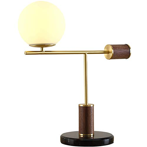KAYBELE Wood Desk Lamp, Creative Table Lamps, Dimmable, Warm White Lighting, Spherical Glass Lampshade, E27, Brass, for Reading Study Work Office Bedside Nightstand