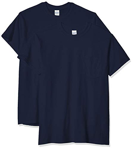 Gildan Men's Ultra Cotton Adult T-Shirt with Pocket, 2-Pack, Navy, X-Large