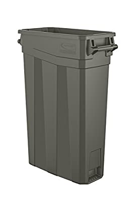 "Suncast Commercial TCNH2030 Narrow Trash Can With Handles, 30.00"" Height x 11.08"" Width, 23 gal Capacity, Gray"