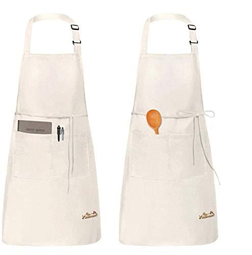 Viedouce 2 Piezas Delantales Impermeables Ajustables del Cocinero con Bolsillo Cocina Delantale de Cocina para Mujeres Hombres,Delantal Chefs Cocina para Cocinar/Hornear (Beige)