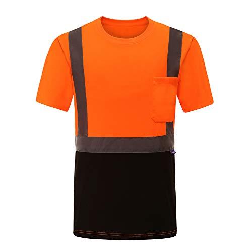 Hi Vis T Shirts ANSI Class 2 Reflective Safety High Visibility Short Sleeve Shirts (Orange, M)