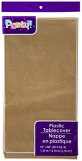 PACK OF 4: Disposable DARK GOLD Plastic Tablecloths / Table Covers, 54 x 108 inches each