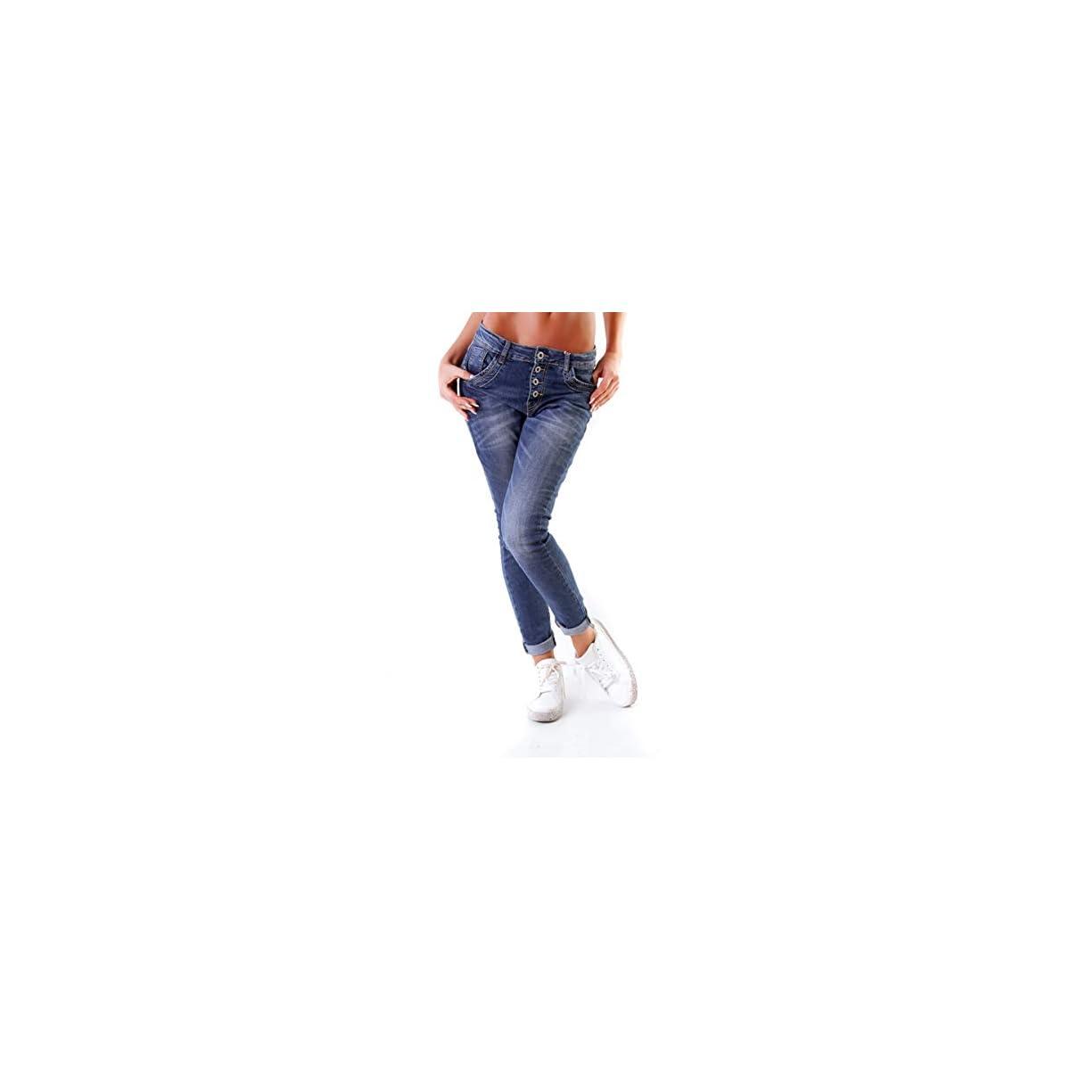 10847 Fashion4young Damen Jeans Röhrenjeans