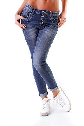 10847 Fashion4young Damen Jeans Röhrenjeans Hose Stretch Boyfriend Slimfit Knopfleiste