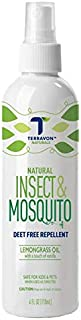 Terravon Insect Mosquito Repellant Spray / Natural Bug Spray with Lemongrass Oil, Vitamin E for Both Indoor/Outdoor, Deet Free, Safe for All Kids, Adults, Pets, Travel-Friendly, 4 oz