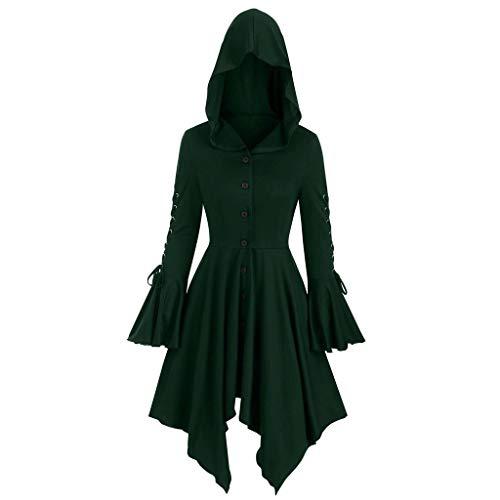 Gothic Mantel Damen Mittelalter Kleid mit Kapuze Umhang Lang Oberteile Halloween Vintage Hoodie Punker Coole KostüMe Gothic Kleidung Oberteile Kanpola