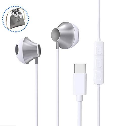 ZERKAR USB C Kopfhörer, In Ear USB Typ C Kopfhörer, Stereo Wired USB Typ C Ohrhörer mit Mikrofon & Lautstärkeregler, Kompatibel mit Google Pixel 3XL/3/2XL/2, Huawei P30/Mate20,Pad Pro,Samsung S10